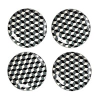 Pols Potten Plates Set Of 4 3D Black