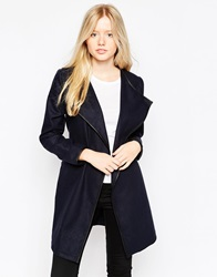 Brave Soul Belted Coat With Pu Trim Navy