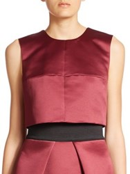 Milly Duchess Satin Cropped Seamed Shell