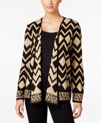 Alfred Dunner Petite Tis The Season Geo Print Cardigan Gold Illusions