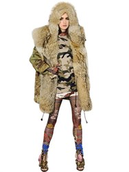 Dsquared2 Hooded Camouflage And Fur Parka