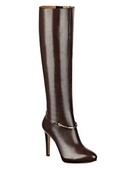 Nine West Pearson Knee High Platform Leather Boots Dark Brown