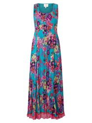 East Hope Print Pleated Dress Lagoon