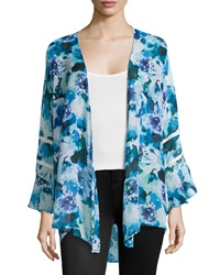Romeo And Juliet Couture Floral Crochet Trim Long Sleeve Kimono Royal