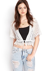 Forever 21 Crochet Lace Cardigan Cream