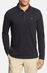 Victorinox Swiss Armyr Men's Army Tailored Fit Long Sleeve Zip Polo Black