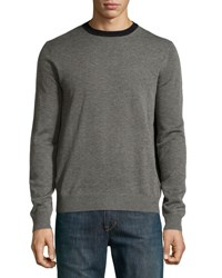 Neiman Marcus Colorblock Crewneck Sweater Flint