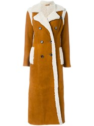 Giada Benincasa Long Shearling Coat Yellow And Orange