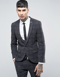 Noose And Monkey Super Skinny Suit Jacket In Brushed Check Grey