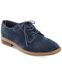 Tommy Hilfiger Jayar Lace Up Oxford Flats Women's Shoes Navy