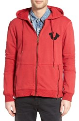 True Religion Men's Brand Jeans 'Moto' Zip Hoodie Graffiti Red