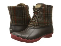 Sperry Saltwater Prints Brown Wool Plaid Women's Rain Boots Tan