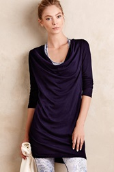 Anthropologie Cowled Neah Tunic Dark Blue