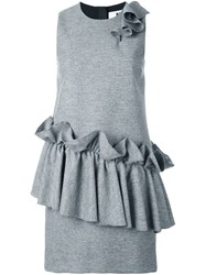 Msgm Ruffled Detail Sleeveless Dress Grey