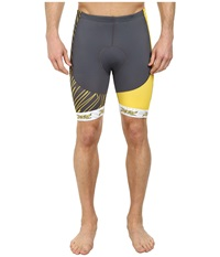 Zoot Sports M Performance Tri Team 8 Short Pewter Sub Atomic Yellow Men's Shorts Gray