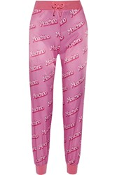 Moschino Printed Satin Track Pants Pink
