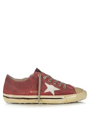 Golden Goose V Star 2 Low Top Dipped Canvas Trainers Red Multi