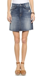7 For All Mankind A Line Destroyed Miniskirt Grinded Vintage Indigo 2