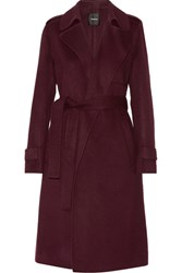 Theory Oaklane Wool And Cashmere Blend Trench Coat Burgundy