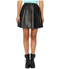 Jeremy Scott Leather Circle Skirt Black