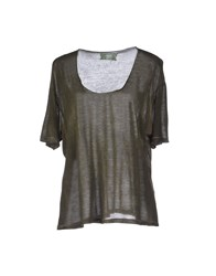 Get Lost Topwear T Shirts Women Military Green