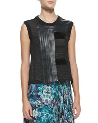 Nanette Lepore Getaway Leather Patchwork Sleeveless Top Black