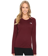 The North Face Long Sleeve Lfc Reaxion Amp Tee Deep Garnet Red Lupine Women's Long Sleeve Pullover