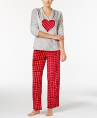 Charter Club Plush Appliqued Top And Printed Pants Pajama Set Only At Macy's Red Heart Plaid
