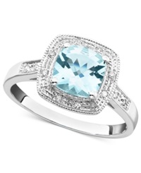 Macy's 10K White Gold Ring Aquamarine 1 1 3 Ct. T.W. And Diamond Accent Ring