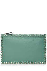 Valentino Leather Rockstud Large Flat Clutch Turquoise