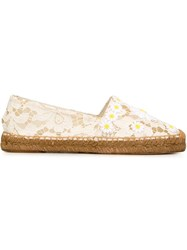 Dolce And Gabbana Daisy Lace Espadrilles White
