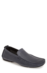 Carlo Pazolini Perforated Leather Driving Moccasin Men Blue