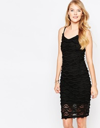 Love Strap Mesh Tassel Dress Black