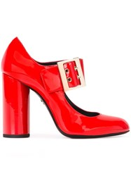Lanvin Mary Jane Buckle Pumps Red