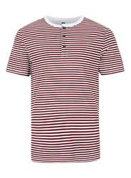 Topman Burgundy Stripe Grandad Collar Muscle Fit T Shirt Red