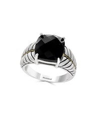 Effy Onyx And 18K Gold Plated Sterling Silver Ring
