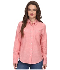 Dockers Petite Spring Chambray Shirt Tigerlily Women's Long Sleeve Button Up Pink