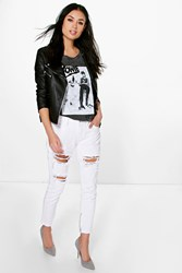 Boohoo Distressed White Mom Jeans White
