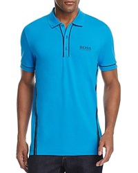 Hugo Boss Green Paddy Mk Neon Stripe Classic Fit Polo Short Blue Aster
