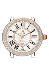 Michele 'Serein 16 Diamond' Rose Gold Plated Watch Case 34Mm X 36Mm Silver Rose Gold