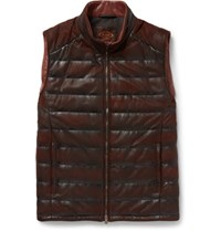 Tod's Quilted Waxed Leather Gilet Burgundy