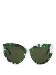 Dolce And Gabbana Banana Leaf Print Cat Eye Sunglasses Green Multi
