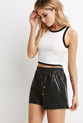 Forever 21 Faux Leather Drawstring Shorts Black