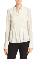 Theory Women's 'Dionelle' Pintuck Pleat Textured Chiffon Blouse Ivory