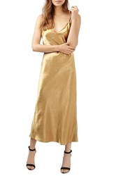 Topshop Women's Cross Strap Metallic Maxi Slipdress