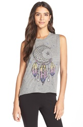 Lauren Moshi 'Kinzington' Crop Muscle Tee Heather Grey Moon Dreamcatcher