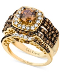 Le Vian Certified Bridal Set Chocolate And White Diamond Engagement Ring Set 2 5 8 Ct. T.W. In 14K Gold
