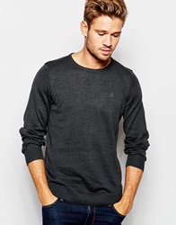 Blend Of America Blend Crew Knit Jumper Slim Fit In Charcoal