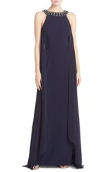 Women's Vince Camuto Sleeveless Chiffon Overlay Gown With Beaded Neckline