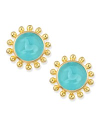 Teal Tiny Horse Intaglio Stud Earrings Elizabeth Locke